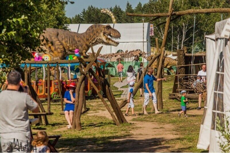 """Pramogų diena """"Dino nuotykių parke"""" ir gardūs kibinai 4 asmenų šeimai"""