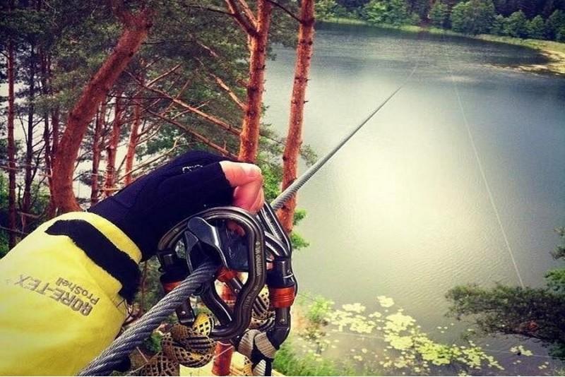 """Žuvėdros skrydis per ežerą pramogų parke """"Žuvėdra"""""""